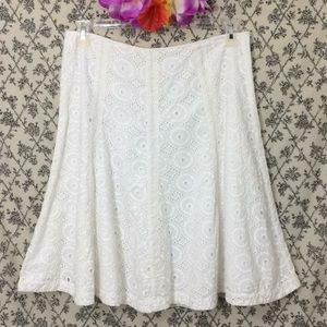 White Flirty Swishy Summer Eyelet Lace Skirt